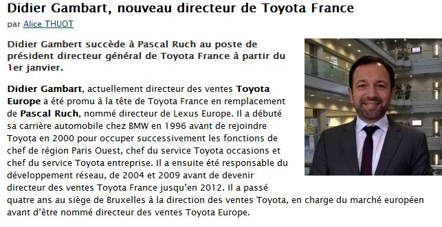 didier gambart nomm directeur toyota france. Black Bedroom Furniture Sets. Home Design Ideas